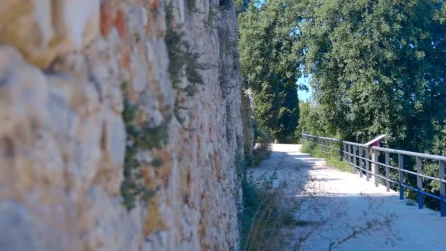 vídeos de stock e filmes b-roll de the road along the ancient stone wall among the shady trees to the landmark - ivy building