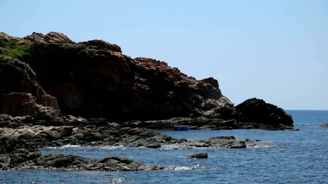 the rocky shore lapped by the sea the rocky shore lapped by the sea grooved stock videos & royalty-free footage