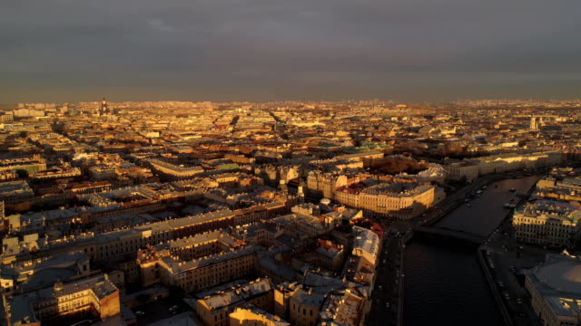 The roofs of St. Petersburg Aerial drone video