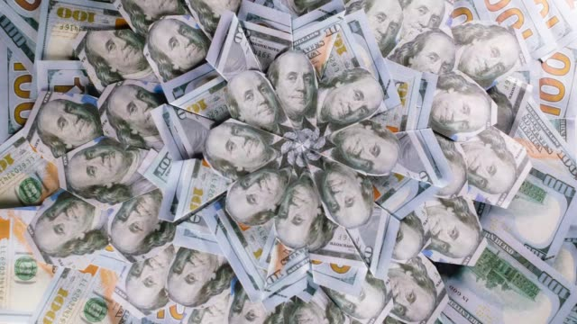 the rotation of money in a circle. - money filmów i materiałów b-roll