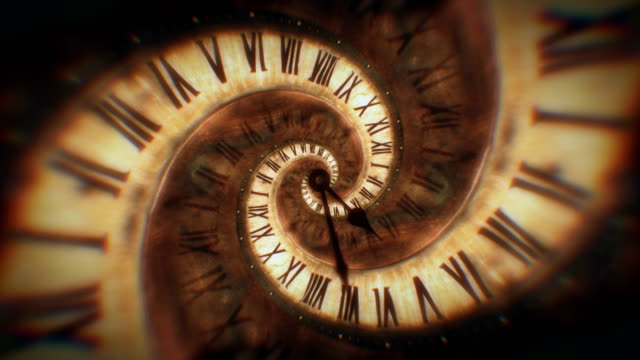 The rotation of the spiral clock of the Roman numerals abstract seamless animation