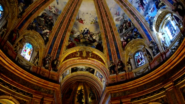 The Royal Basilica of San Francisco el Grande. Madrid, Spain. The royal cathedral is constructed and registered in neoclassical style, in the second half of the XVIII century. palace stock videos & royalty-free footage