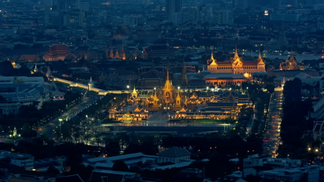 The royal funeral pyre of King and Temple of the Emerald Buddha, Wat Phra Kaew, Temple of Dawn in Bangkok, Thailand video