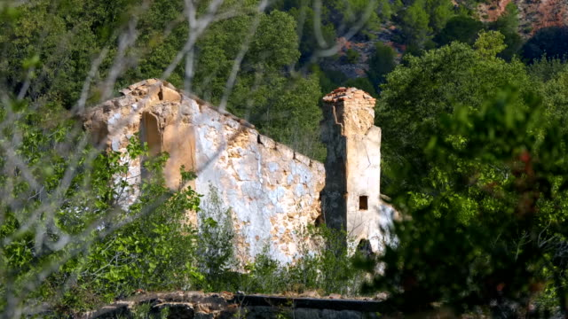 The ruins of old house in the middle of the forest. Remained separate fragments