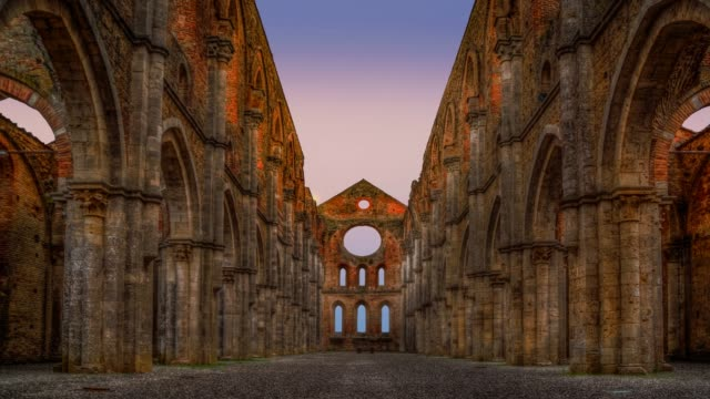 The ruins of the ancient abbey of San Galgano, Tuscany, Italy