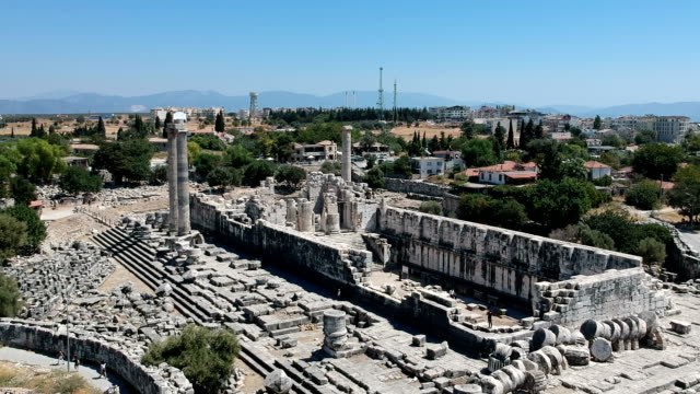 the ruins of the temple of apollo at didyma, turkey - greek architecture stock videos & royalty-free footage