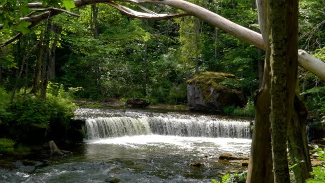 stockvideo's en b-roll-footage met de meeslepende watervallen in nommeveski in estland - estland