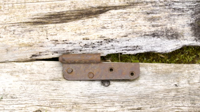 the rusty door clamp on the wooden door - imperfection stock videos & royalty-free footage