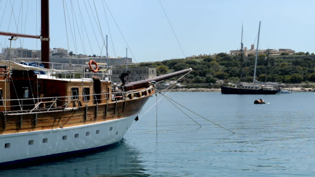 The sail yacht is in harbour, Sliema, Malta video