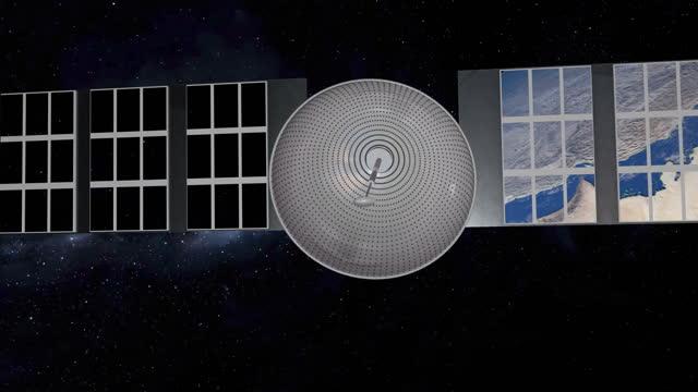vidéos et rushes de le satellite scannant et surveillant la terre depuis l'espace. le satellite en orbite autour de la planète terre. - carte de france