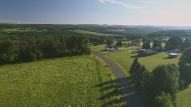 the scenery aerial view of poconos, monroe county, pennsylvania. the sunny summer morning. the panoramic overview over the field and forest to the kunkletown, then to the small farm near by the road. - небольшой город стоковые видео и кадры b-roll