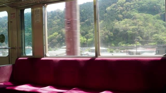 the scenery seen from the train on the journey - wagon kolejowy filmów i materiałów b-roll
