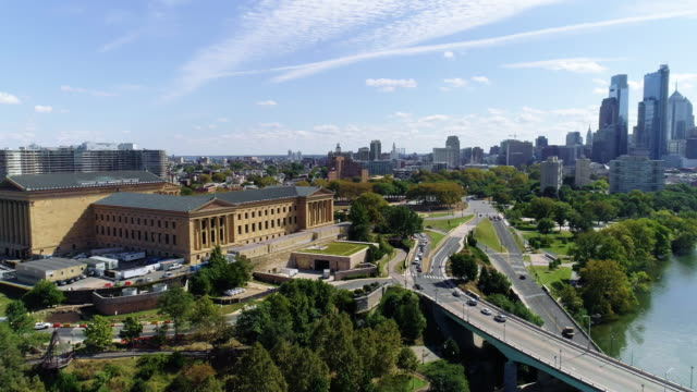 The scenic aerial view on Philadelphia downtown over the Schuylkill River. video