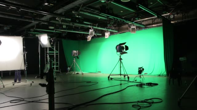 The Set Lighting Film Film lighting set equipment green screen chroma key studio group of objects stock videos & royalty-free footage