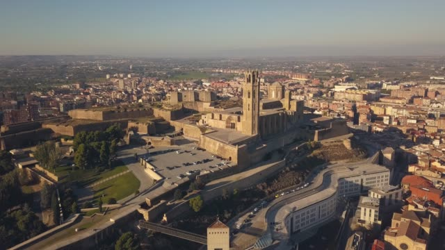 The Seu Vella cathedral in Lleida Aerial view of La Seu Vella cathedral in Lleida lleida stock videos & royalty-free footage
