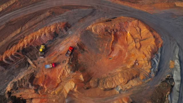 The Shale mining from above. Aerial view to open cast mine. Heavy industry as a source of emissions.