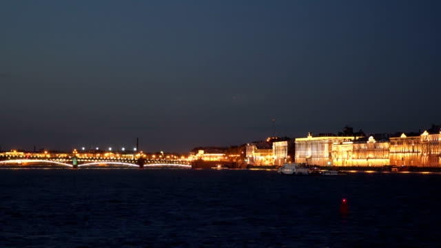 The ship sails on the Neva at night St. Petersburg video