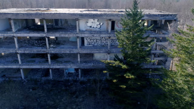 The sie view of the ruined building in ukraine video