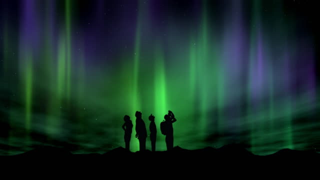 the silhouette of people looking up to the stars and the aurora borealis or northern lights - aurora boreale video stock e b–roll