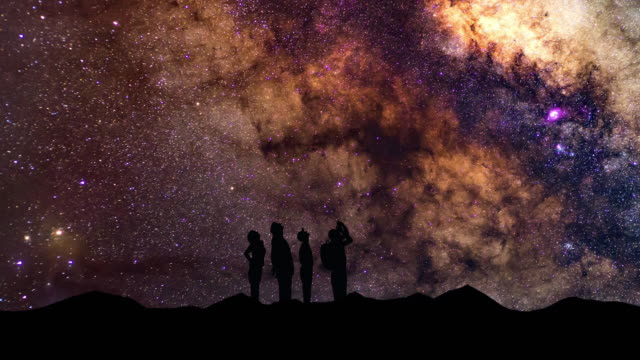 the silhouette of people looking up to the stars and the milky way - astronomia video stock e b–roll