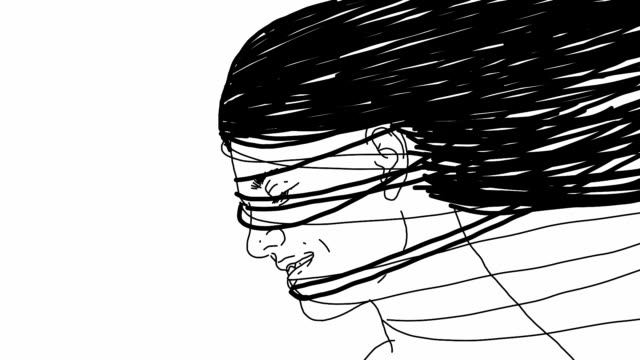 the sketch animation of surreal smiling girl - сюрреалистический стоковые видео и кадры b-roll