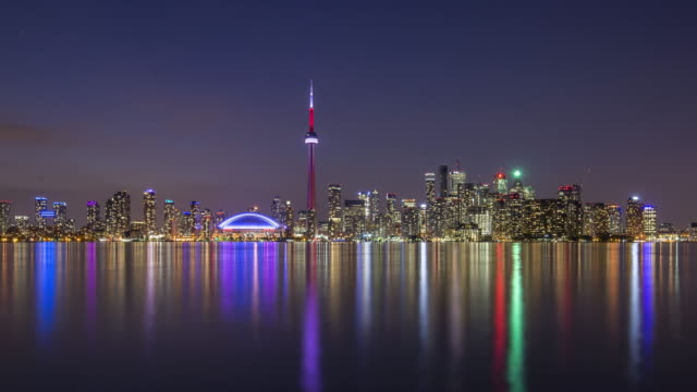 the skyline of toronto during the sunset - 4k - toronto architecture stock videos & royalty-free footage