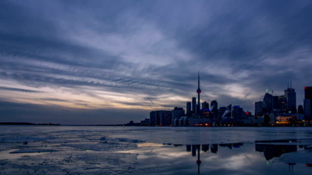 The skyline of Toronto during the sunset video