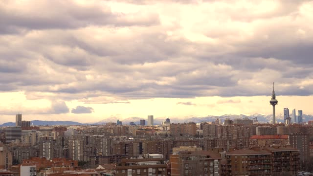 the skyscrapers four towers and television tower el pirul in madrid, timelapse - madrid video stock e b–roll