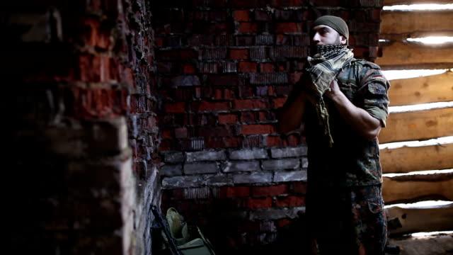 The soldier prepares uniforms video