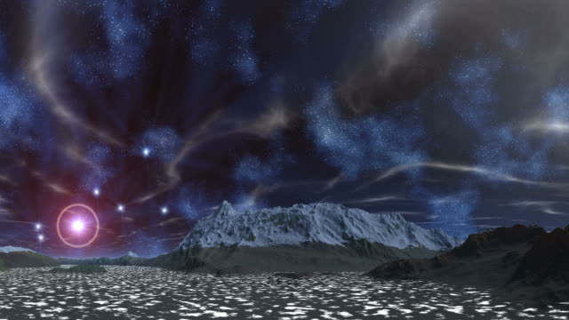The star in the halo, nebulae and clouds video