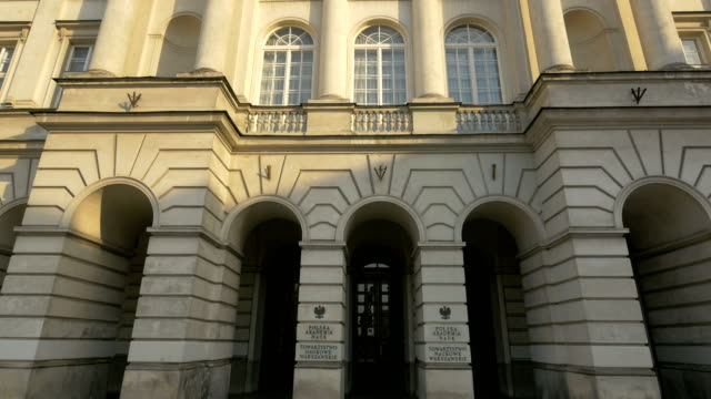The Staszic Palace in Warsaw The Staszic Palace in Warsaw neoclassical architecture stock videos & royalty-free footage