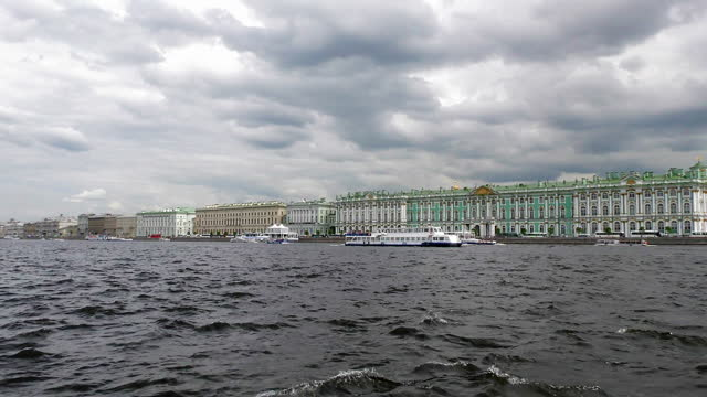 The state Hermitage along the Neva river embankment in Central St. Petersburg in winter.