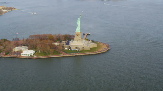 HD AERIAL: The Statue of LIberty video