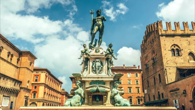 The statue of the god Neptune, Bologna Italy video