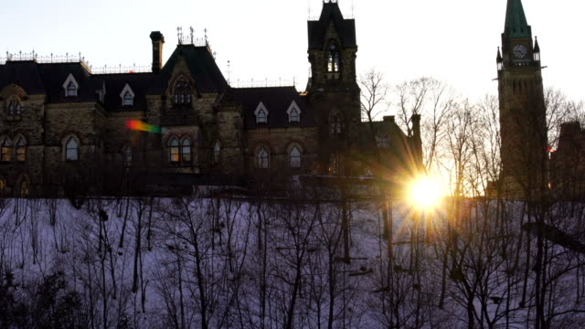 the sunset of the capitol mountain in ottawa - victorian architecture stock videos & royalty-free footage