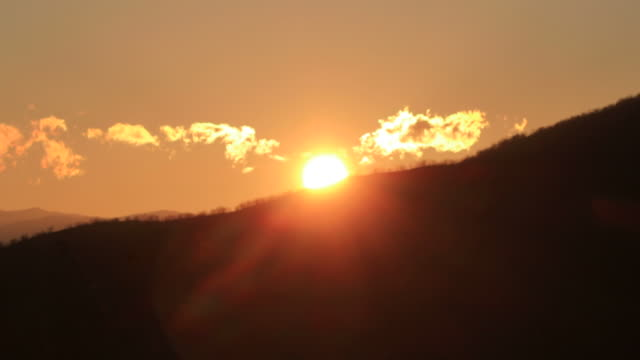 the sunset over the mountains