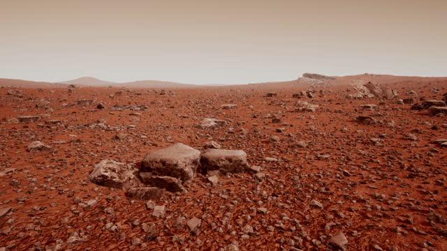 stockvideo's en b-roll-footage met het oppervlak van mars, bezaaid met kleine rotsen en rood zand - geologie