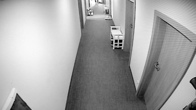 The surveillance camera captured as a thief almost fell into the apartment hacking the apartment door video