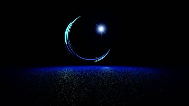 the symbol of islam, the moon and the star. ramadan celebration. 3d illustration - полумесяц форма предмета стоковые видео и кадры b-roll