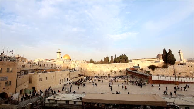 The Temple Mount - Western Wall and the golden Dome of the Rock mosque in the old city of Jerusalem, Israel Time laps video