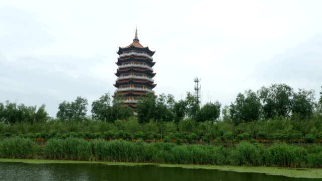 der tempelturm am ufer des wassers - pagode stock-videos und b-roll-filmmaterial