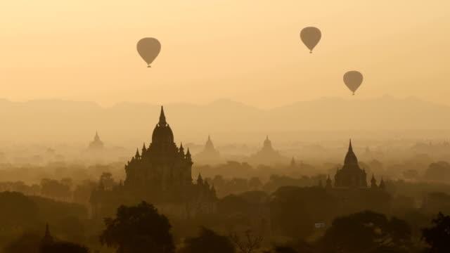 The Temples of Bagan at sunrise, Mandalay, Myanmar The Temples of Bagan at sunrise, Mandalay, Myanmar bagan stock videos & royalty-free footage