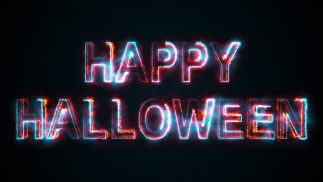 The text Happy Halloween, computer generated. Burning inscription. Capital letters. 3d rendering congratulatory background