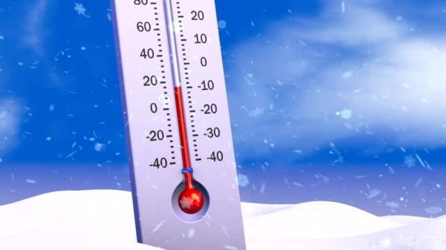 stockvideo's en b-roll-footage met de thermometer op de smeltende sneeuw - thermometer