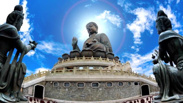the tian tan buddha famous big buddha statue landmark travel places of ngong ping, hong kong (zoom in) - buddha video stock e b–roll