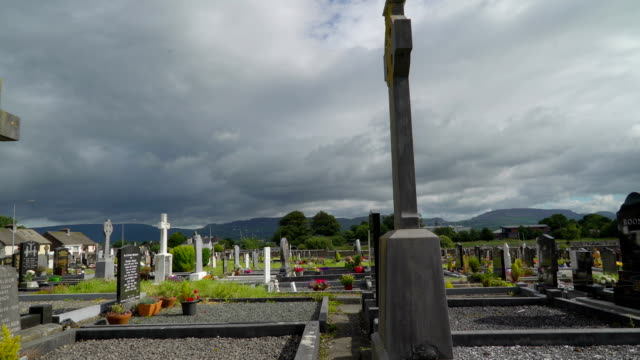 The tombs inside the big cemetery in  Ireland video