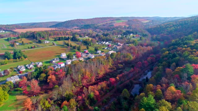 the top view on the road in the small town kunckletown, poconos, pennsylvania, with fall foliage. aerial drone video. - горы поконо стоковые видео и кадры b-roll