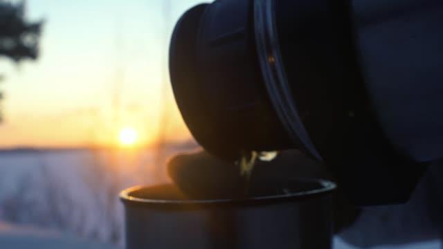 観光女の子が夕暮れ時の雪に覆われた冬の森のポットからお茶を飲んでください。 ビデオ