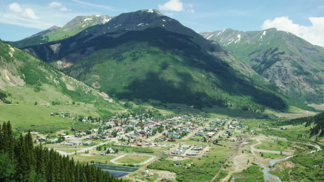 The Town of Silverton, Colorado in Summer as Seen from Red Mountain Pass (Million Dollar Highway/US 550) in the San Juan Mountains/Rocky Mountains in Summer on a Partly Cloudy Day