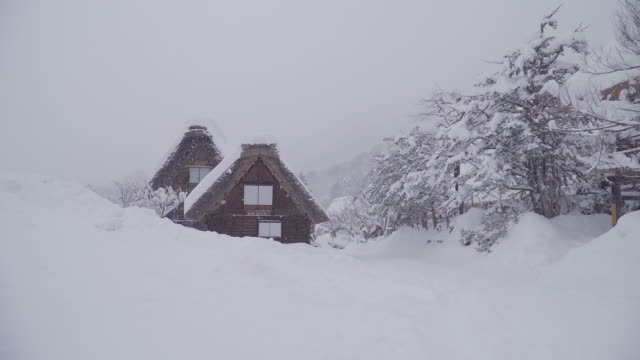 The traditionally thatched houses in Shirakawa-go where is the mountain village among the snow near Gifu, Ishikawa, and Toyama prefecture in the winter, Japan